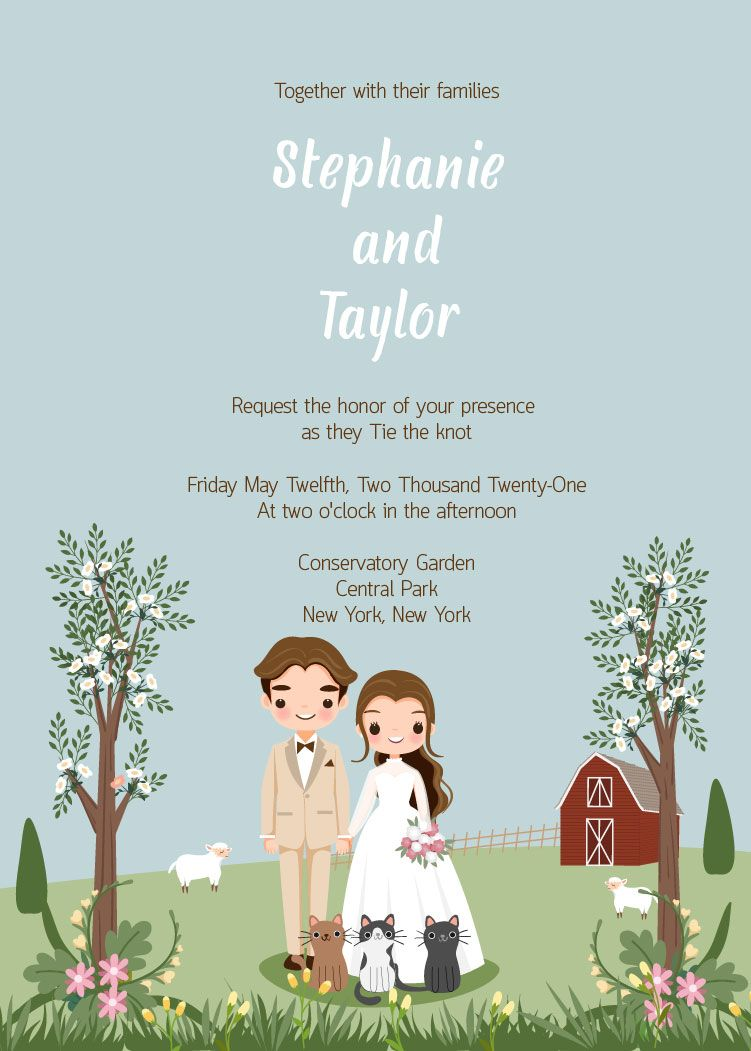 Cute Wedding Save The Date Template Printable Invitation Etsy In 2020 Wedding Invitation Card Template Wedding Invitation Cards Bride And Groom Cartoon