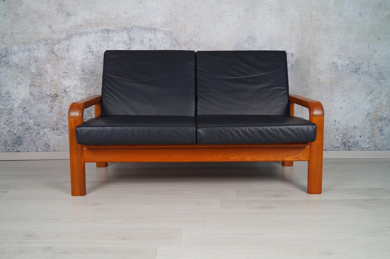Teak 2 Sitzer Leder Couch Sofa Freistehend 60er 70er Danish Design