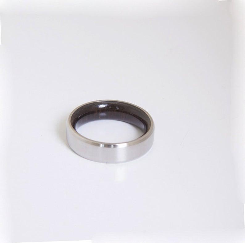 Mens Wood Wedding Band Titanium Wood Ring Alternative