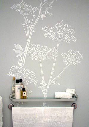 Open Shelving Bathroom Idea | Large wall stencil, Stencils ...