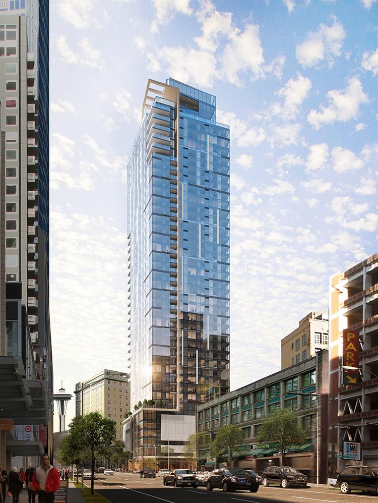 300 000 Sf Tower In Prime Downtown Seattle Location 40 Stories Tall Roximately 400 Apartment Units Four Floors Of Above Grade Parking And Flo