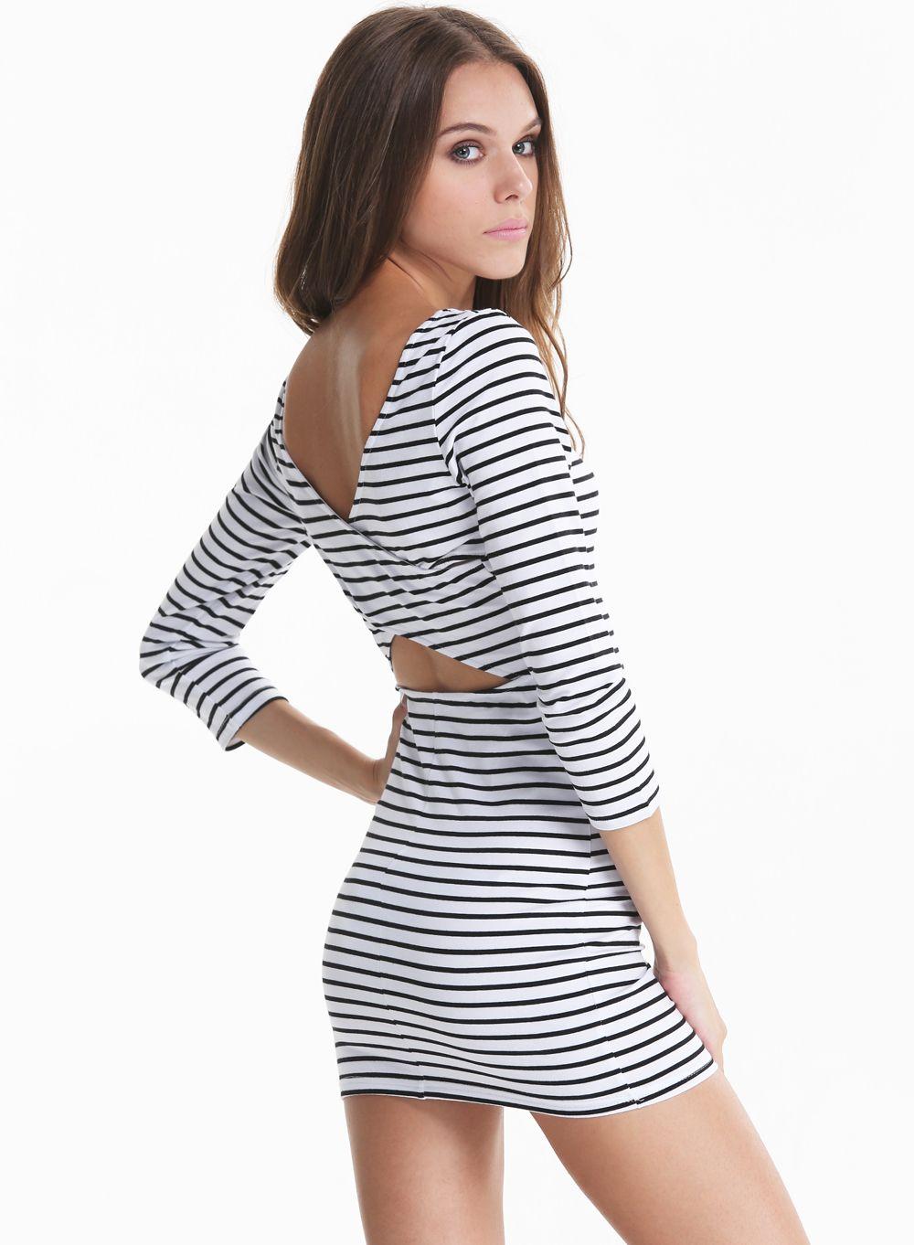 Black long sleeve striped cut out back dress mode