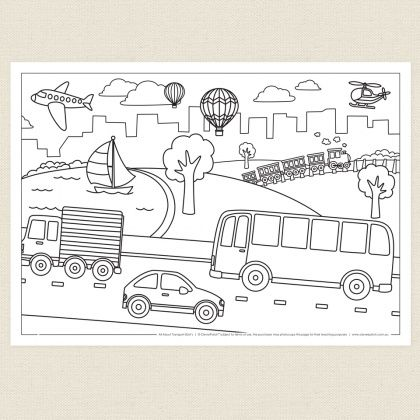 childrens colouring in activity transport colouring sheet cleverpatch transportation. Black Bedroom Furniture Sets. Home Design Ideas