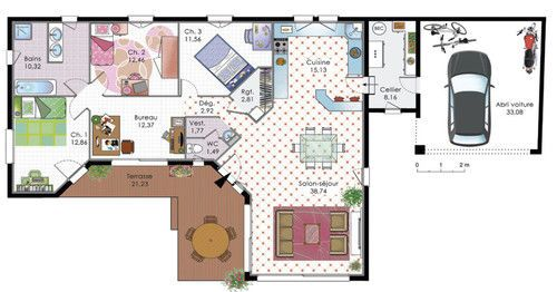 plan maison plain pied en angle