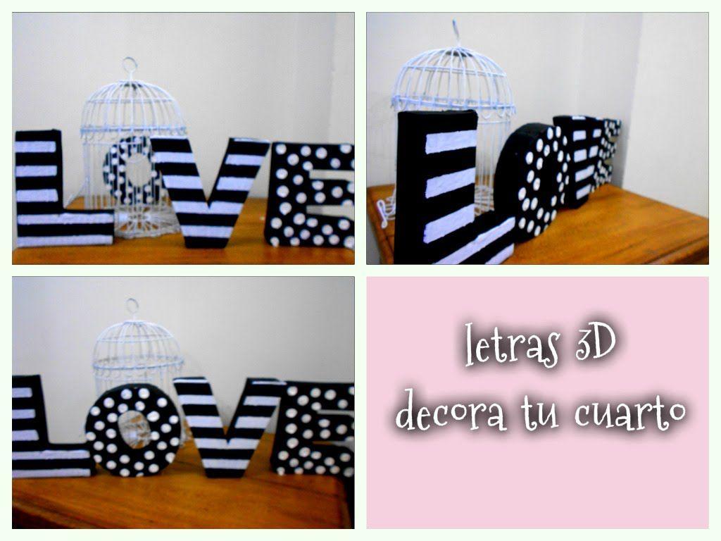 decora tu cuarto con letras 3d de cart n reciclando ForDecora Tu Cuarto Reciclando