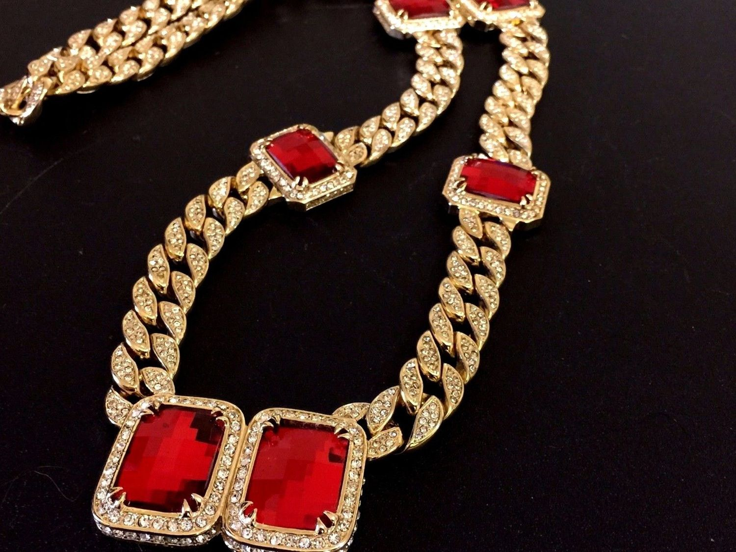 Image Of New Iced Out Mens Miami Cuban Link Lab Diamond Red Ruby Rick Ross