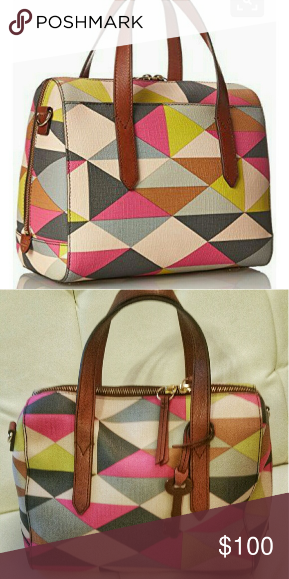 Fossil Sydney Satchel Colorful Geometric Print Made Of Pvc Bags Satchels