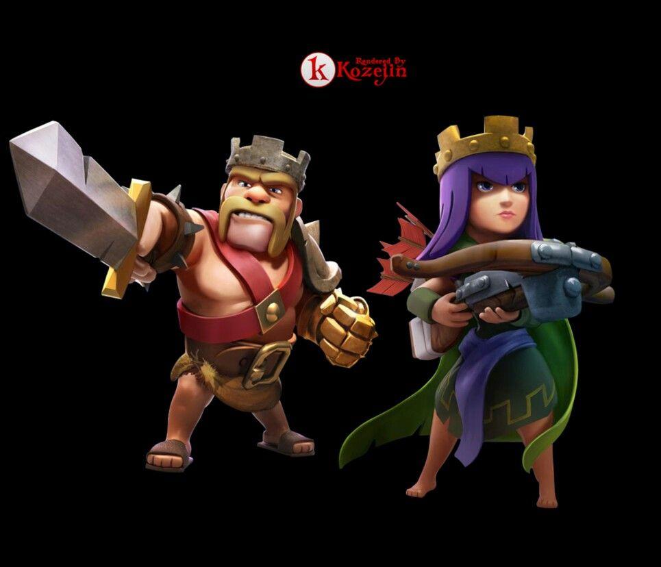 rei bárbaro rainha arqueira clash of clans pinterest clash
