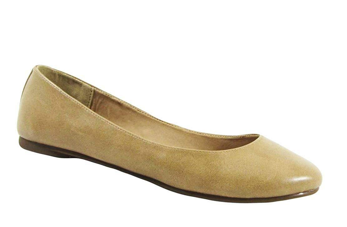Bella Marie Womens Classic Pointy Toe Slip-on Ballet Flat Shoes
