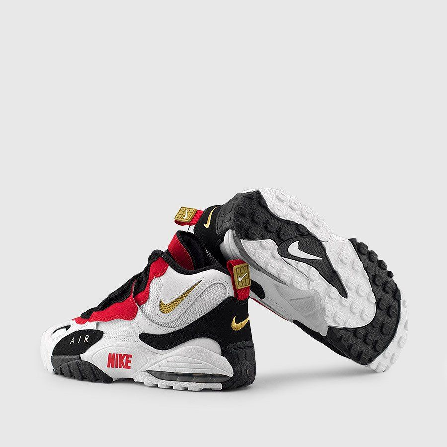 release date: 4f259 58e5d Nike - Men s Air Max Speed Turf (Black   White   Red   Gold) Back. Find  this Pin and more on shoes ...