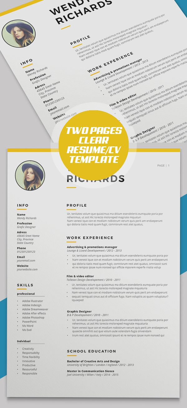 Minimal Clear Two Pages Resume/CV Template | resumes | Pinterest ...