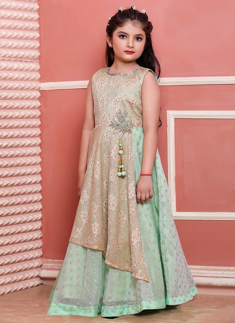 Buy Mint Green Cotton Kids Gown online, SKU Code: KDMTK5430IRIL ...
