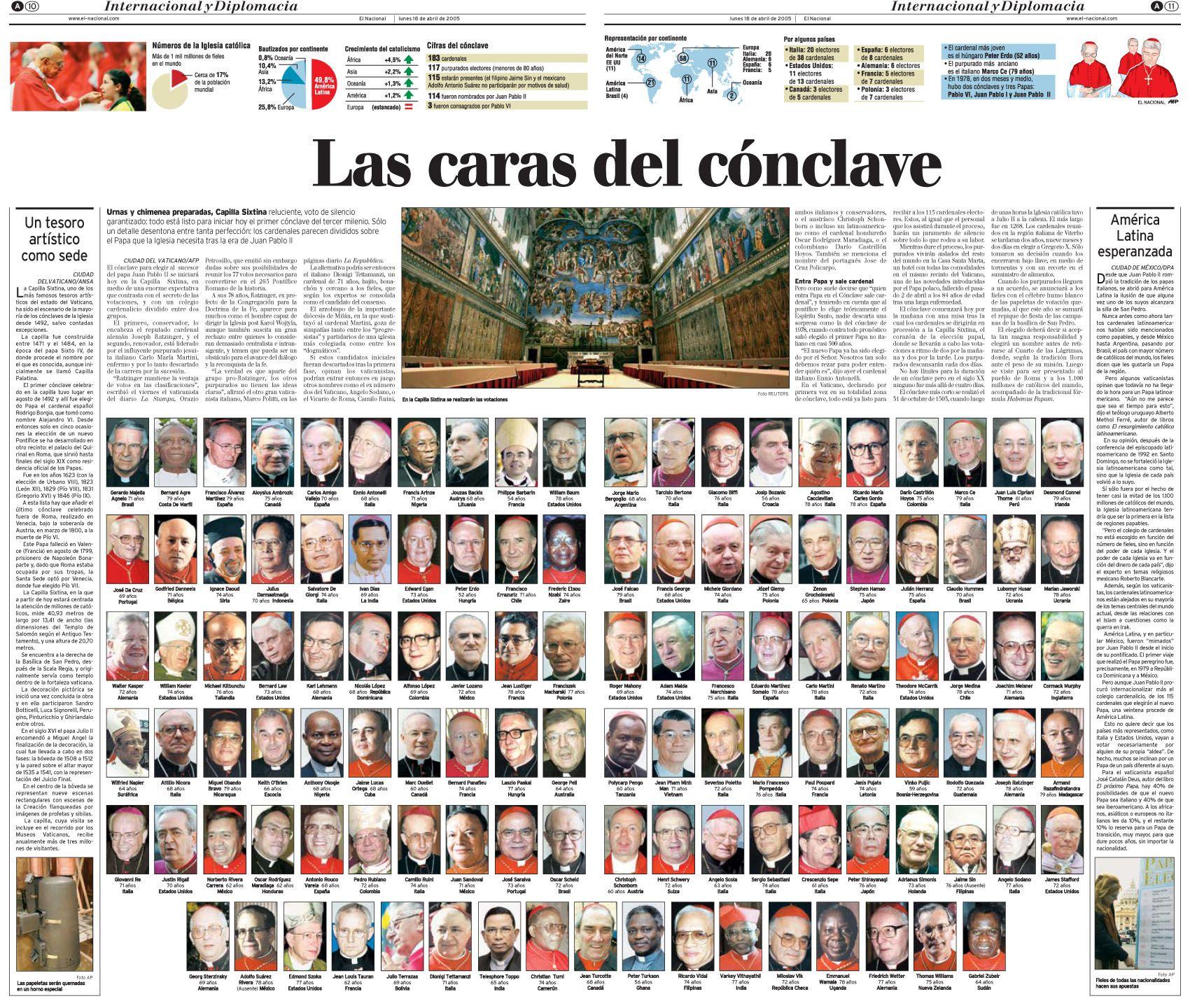 Inicio del cónclave para escoger nuevo Papa, en esa ocasión es electo Benedicto XVI. Publicado el 18 de abril de 2005.