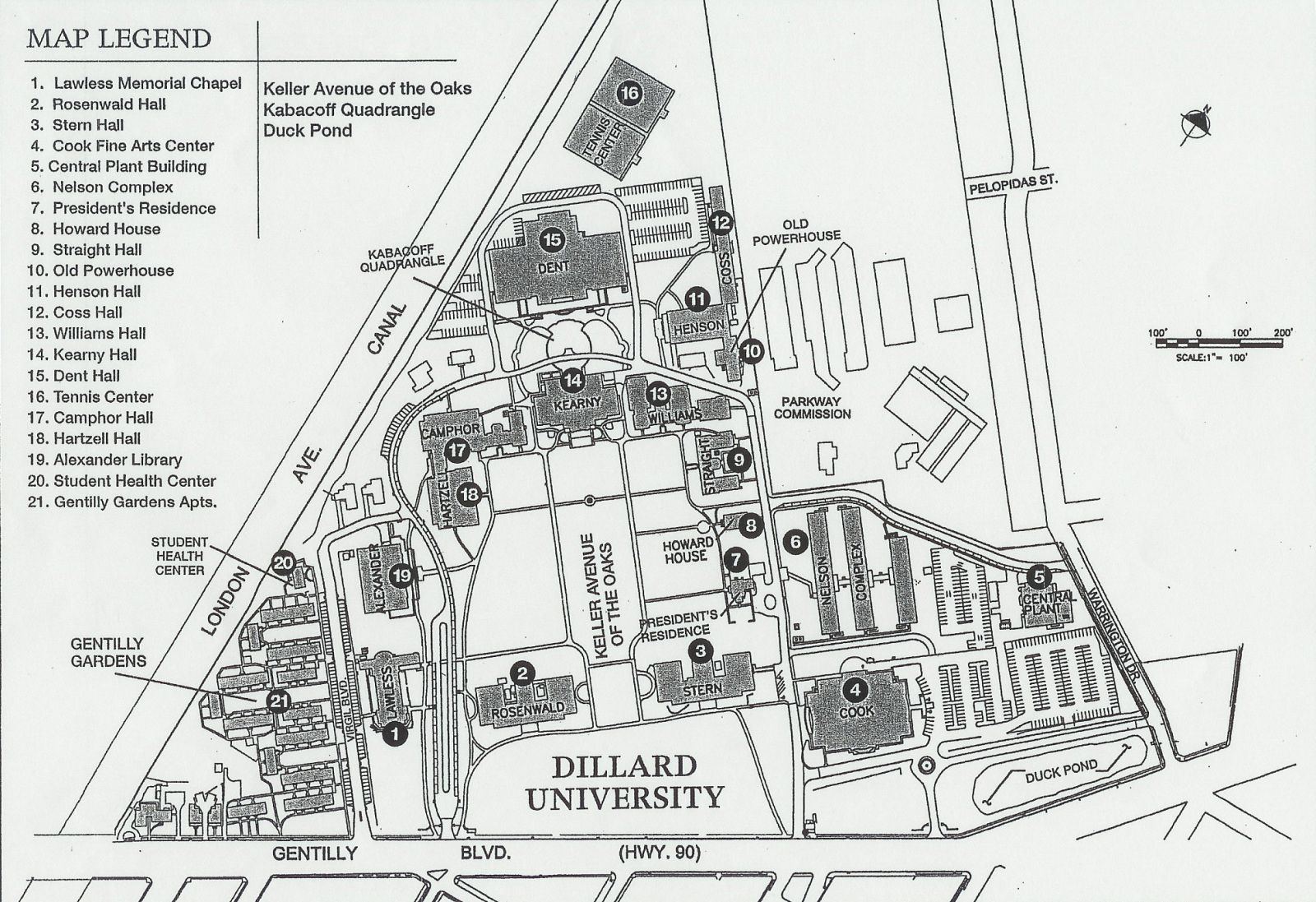 Suno Campus Map.Campus Map Dillard University Hbcus Oklahoma Missouri Arkansas