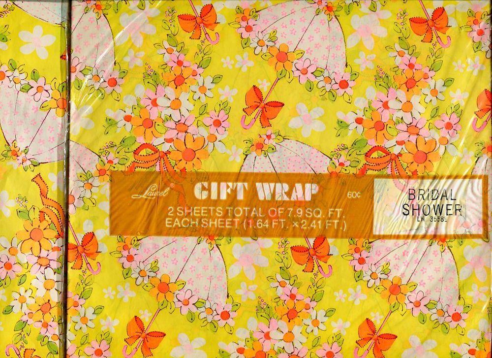 VINTAGE Umbrella Kitsch, Mod GIFTWRAP WEDDING Shower BRIDAL WRAPPING PAPER Lot