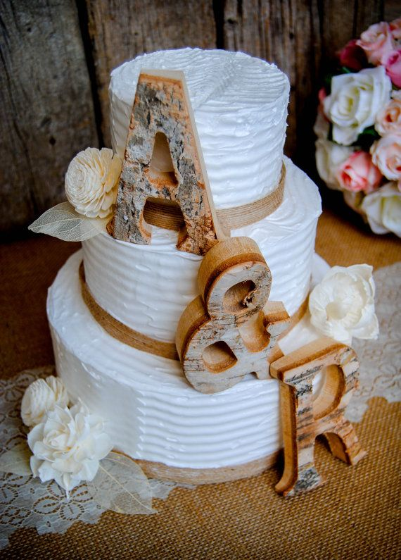 Rustic Wedding Cake Topper Wood Letter Bride Groom Initials