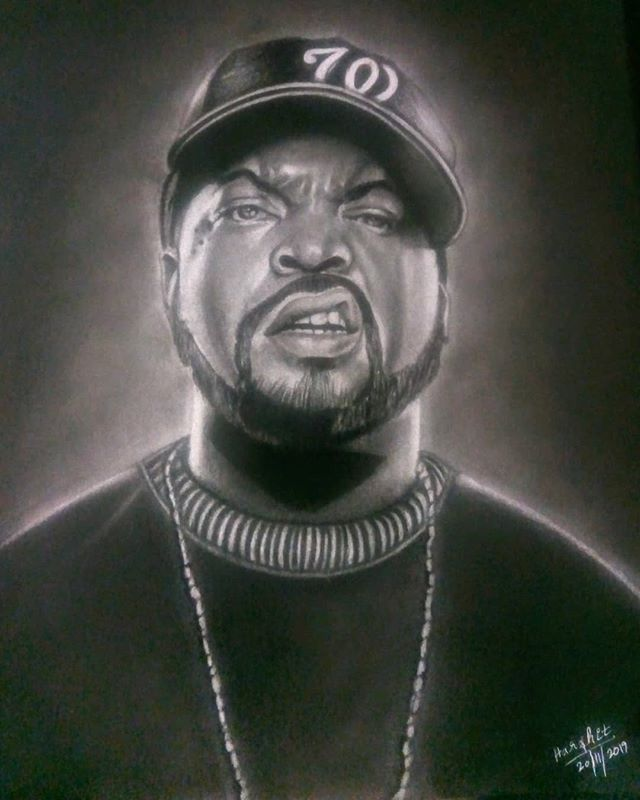 Ruks En Instagram Rruks64 Arts Hello Icecube Just A Small Contribution To You Big Smoke Sketch By Harshi Celebrity Art Contemporary Portrait Art Day