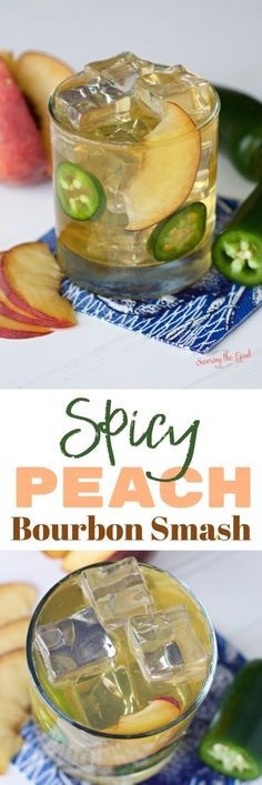 This spicy peach bourbon smash cocktail is a delicious summer bourbon cocktail made with fresh peaches and smashed jalapeños. Sweetened with jalapeño infused honey, this peach whiskey drink goes down smooth and ends with a kick of heat. Summer isn't complete with out a peach whiskey drink. #peachcocktail #bourbonsmash ##summercocktail #bourboncocktail #peachsmash #cocktaildrinks