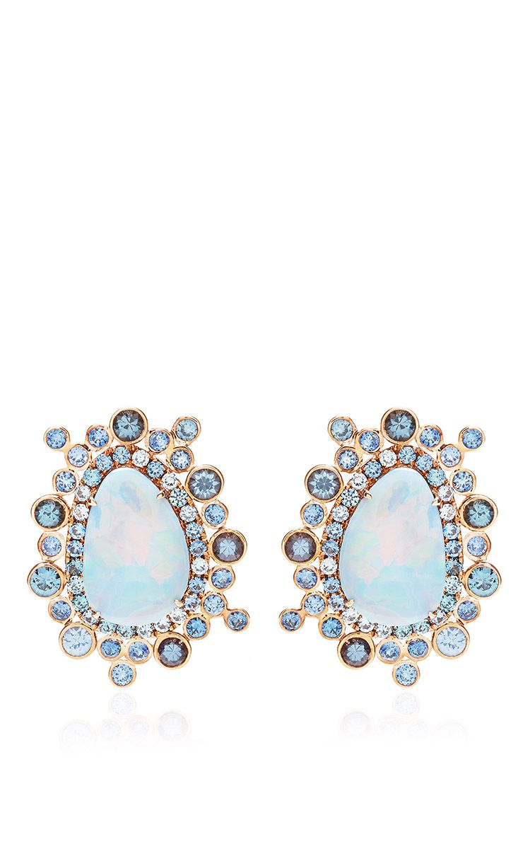 Ophelia Earrings With Opals,Blue Sapphires, And Assorted Color Spinel by Shawn Ames for Preorder on Moda Operandi