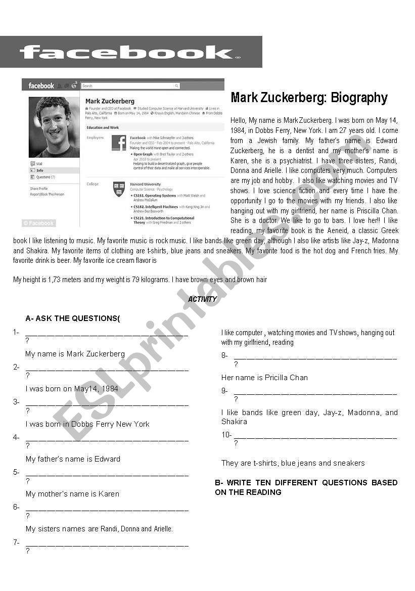Mark Zuckerberg Biography Worksheet Reading Worksheets Writing A Biography Mark Zuckerberg [ 1169 x 821 Pixel ]