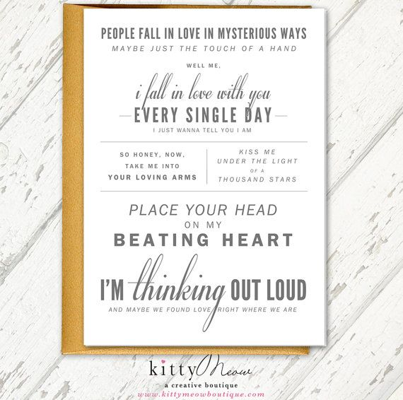 Ed sheeran thinking out loud wedding gift wedding ed sheeran thinking out loud wedding gift wedding congratulations card song lyrics card light gray gold qty 1 by kittymeowboutique stopboris Image collections