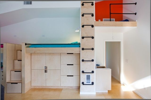 Kinderzimmermöbel selber bauen  zweite ebene kinderzimmer ideen einbauschränke treppen schubladen ...