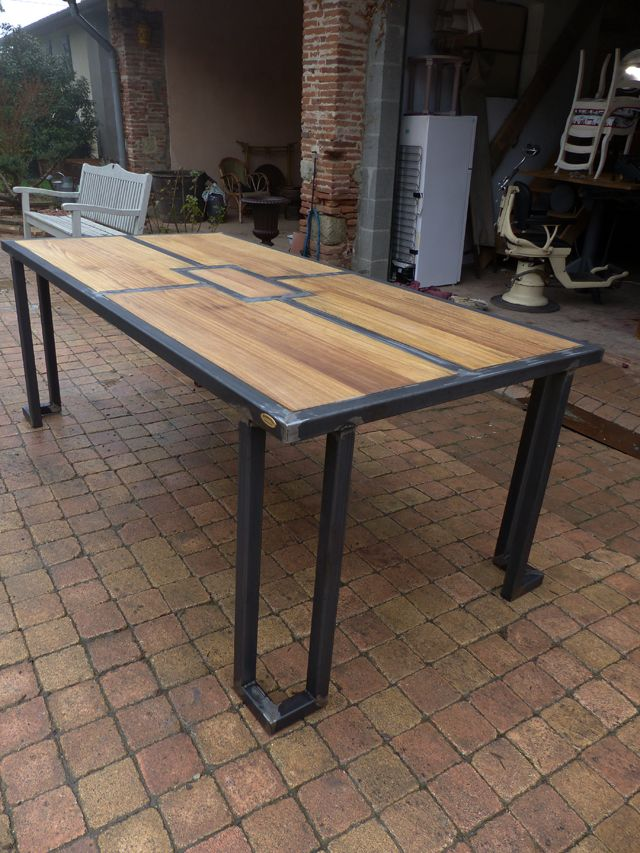 table bois m u00e8tal design industriel sur mesure mobilier industriel Woodworking Decor  # Table Sur Mesure En Bois