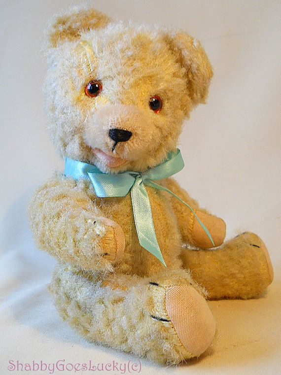 Steiff 1946-1969 Official Website Adorable Antique Teddy Bear Jointed/ Glass Eyes With His Dog Companion