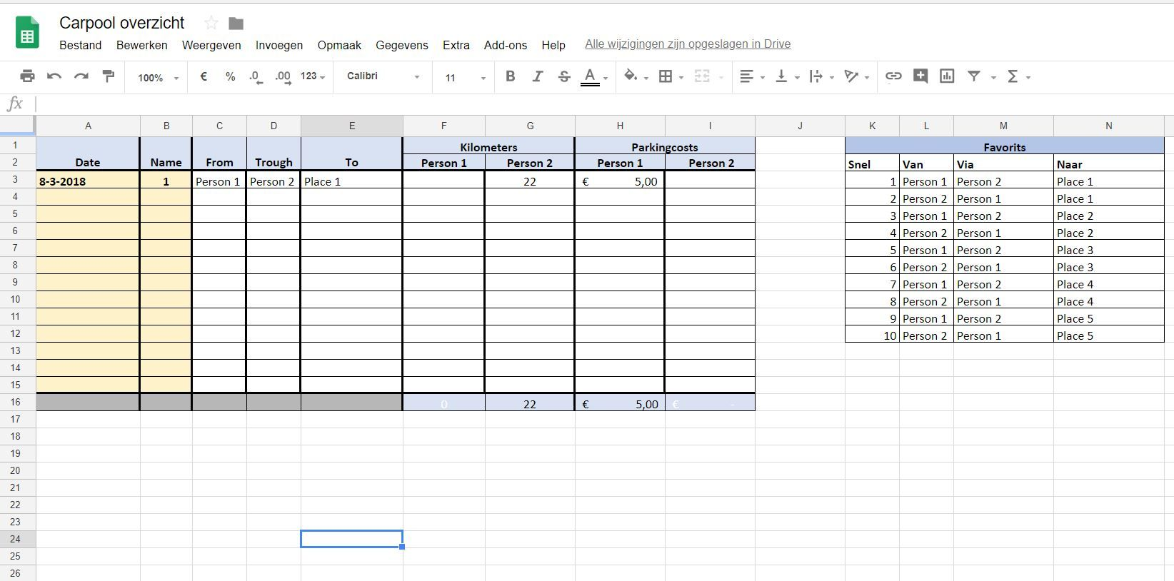 Excel Template For Carpool Registration
