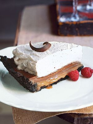 Chocolate Caramel Cream Pie  The cookie crust for this luscious cake only takes 10 minutes in the oven and the filling is no-bake. Use store bought dcaramel sauce to save even more time