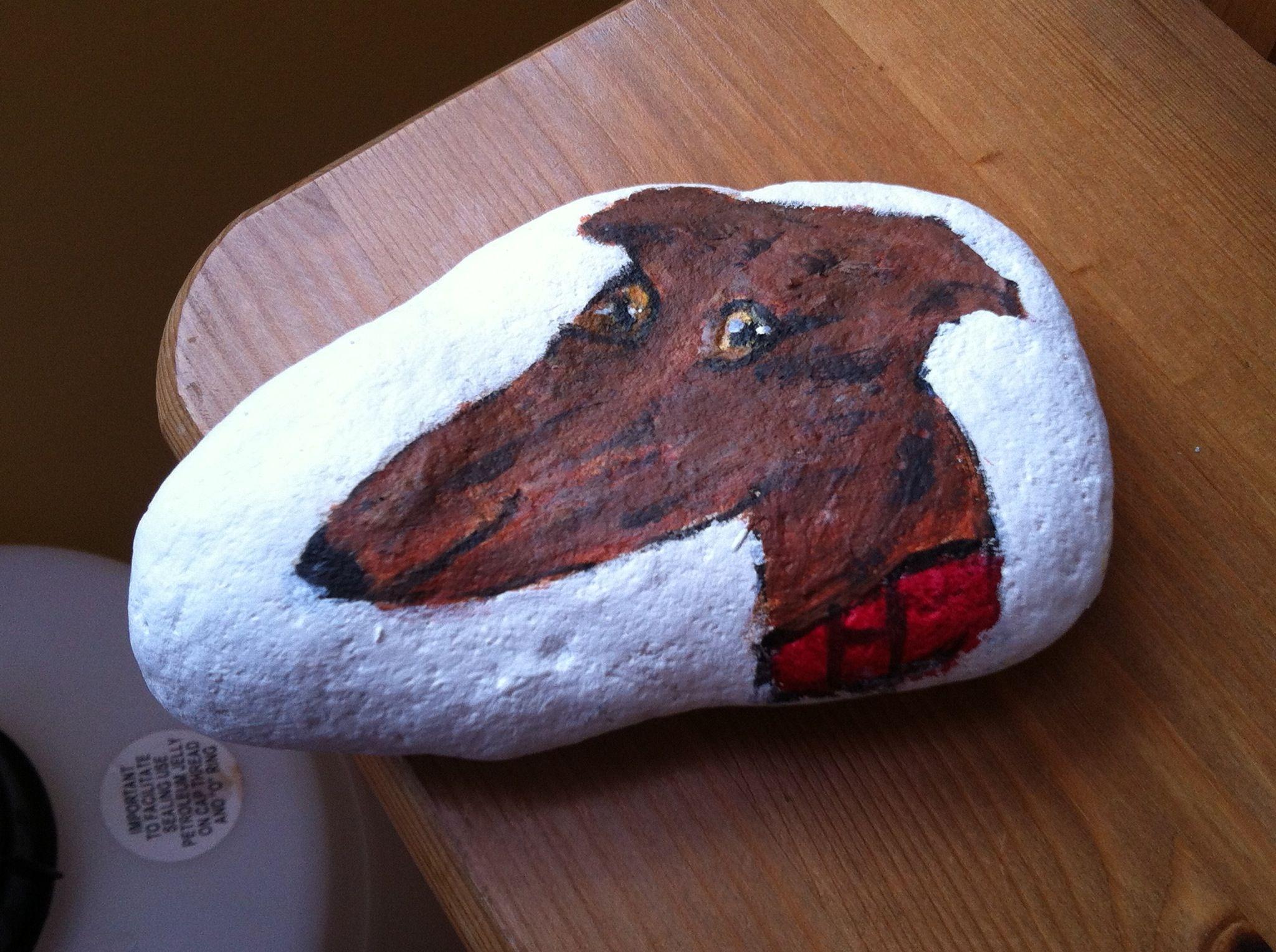My Lurcher art done on stone Lurcher
