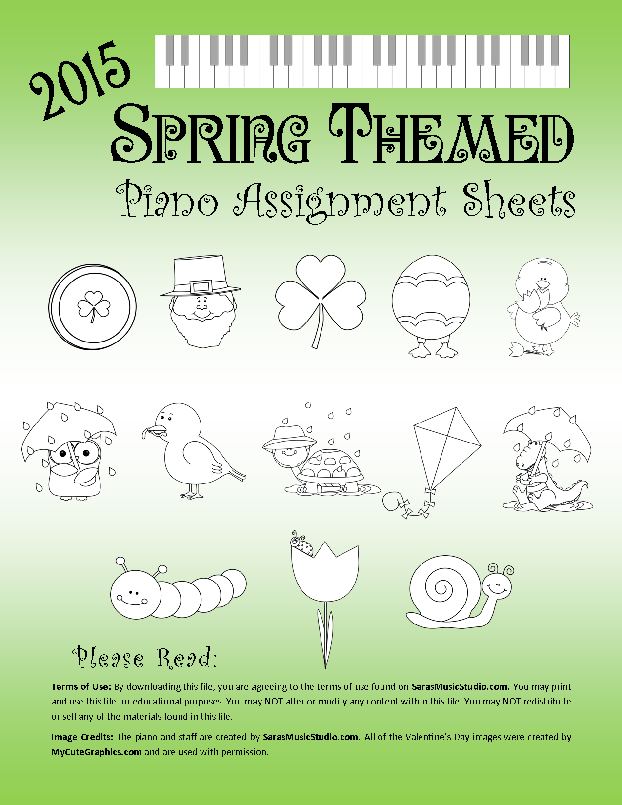 Spring Themed Piano Assignment Sheets