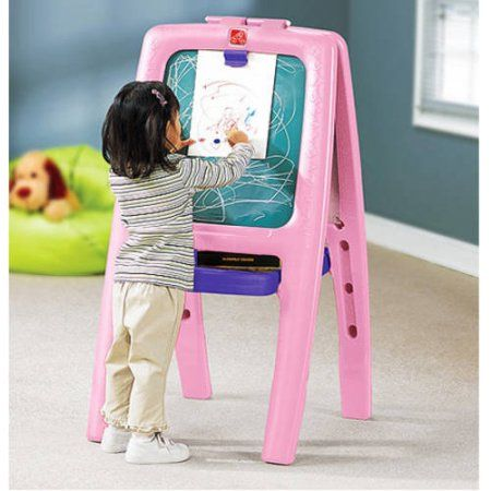 Step2 Easel For Two Pink With 77 Piece Kit Walmart Com
