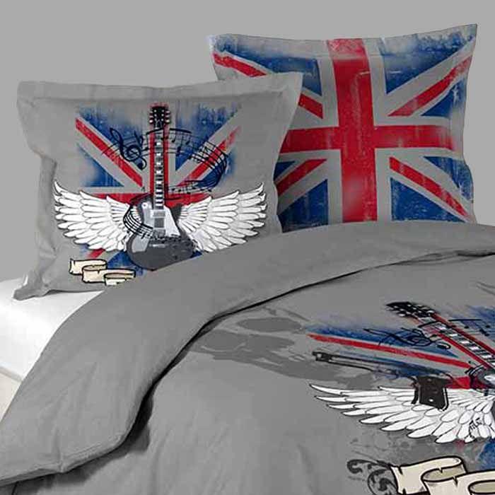 Housse de couette LONDON ROCK GRIS + 2 taies d\'oreillers http://www ...