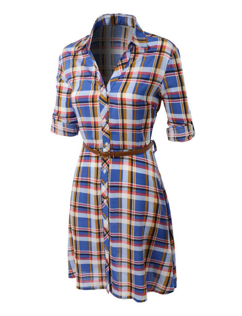 LE3NO Womens Flowy Button Down Plaid Shirt Dress with Faux Leather Belt