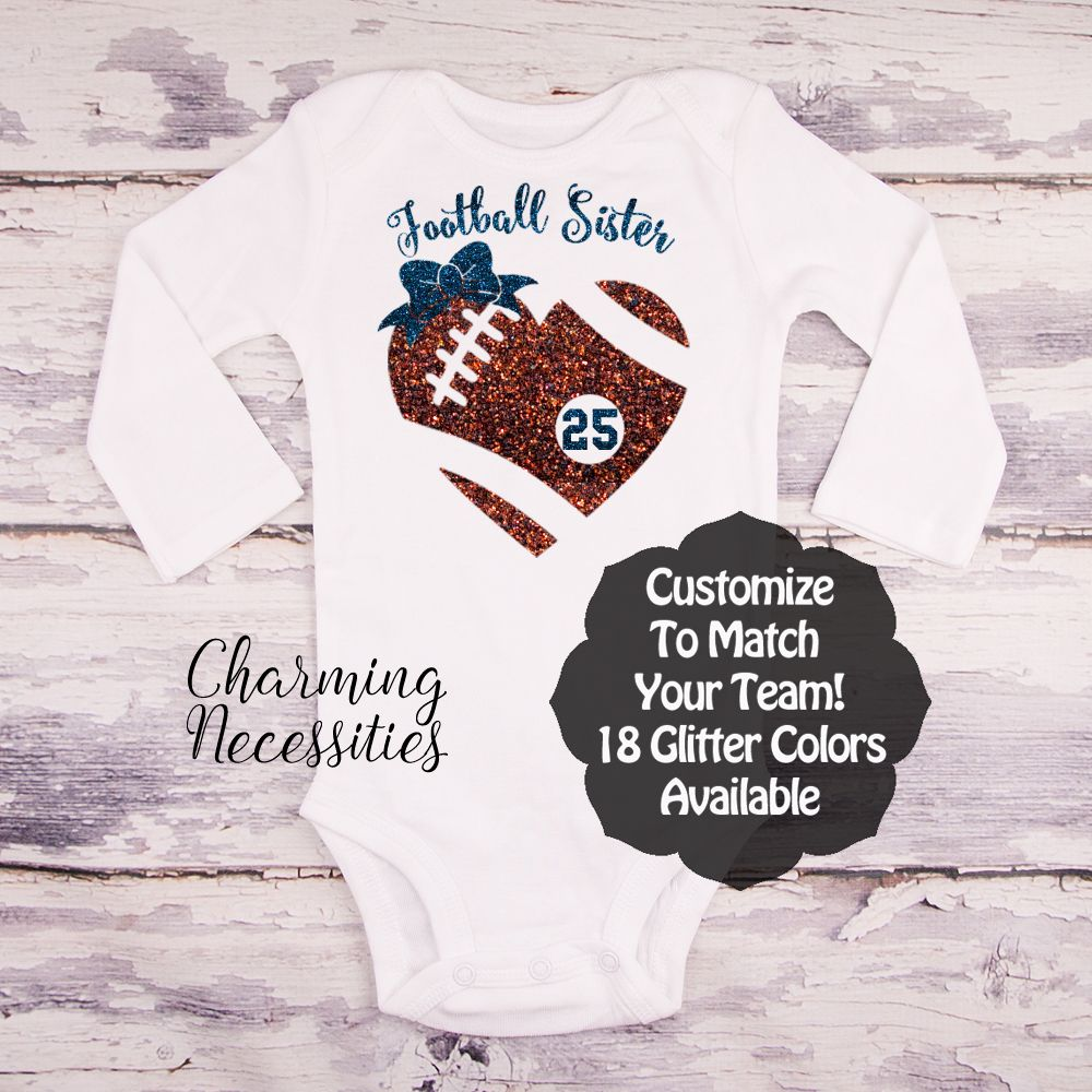 4d1c46e9b Football Sister Heart and Bow and Jersey Number LS - Football Sister - Personalized  Custom Colors Baby Toddler Girl Fan Top, Little Sister Shirt - Charming ...