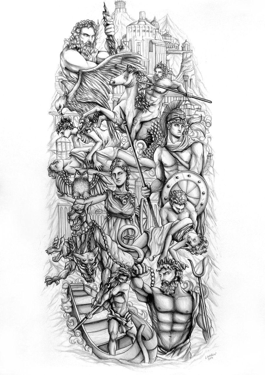 Greek gods by lornakelleherart tattoo ideas pinterest for God s son tattoo