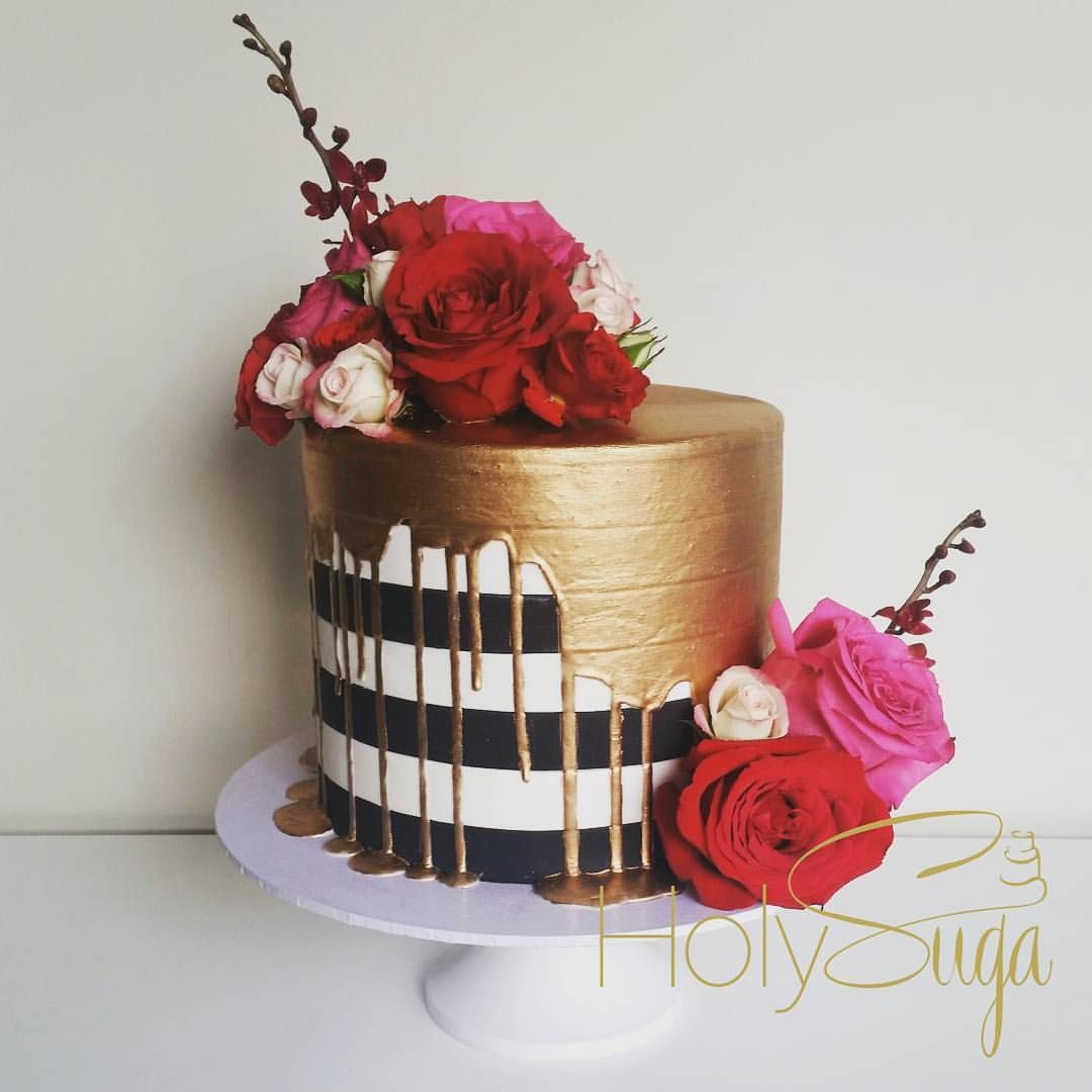 Black And White Stripes With Gold Drip And Flowers Shower Cakes