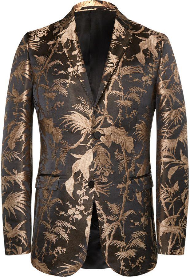 302c4f978 Gucci Black and Gold Slim-Fit Jacquard Tuxedo Jacket | Mens Suits în ...