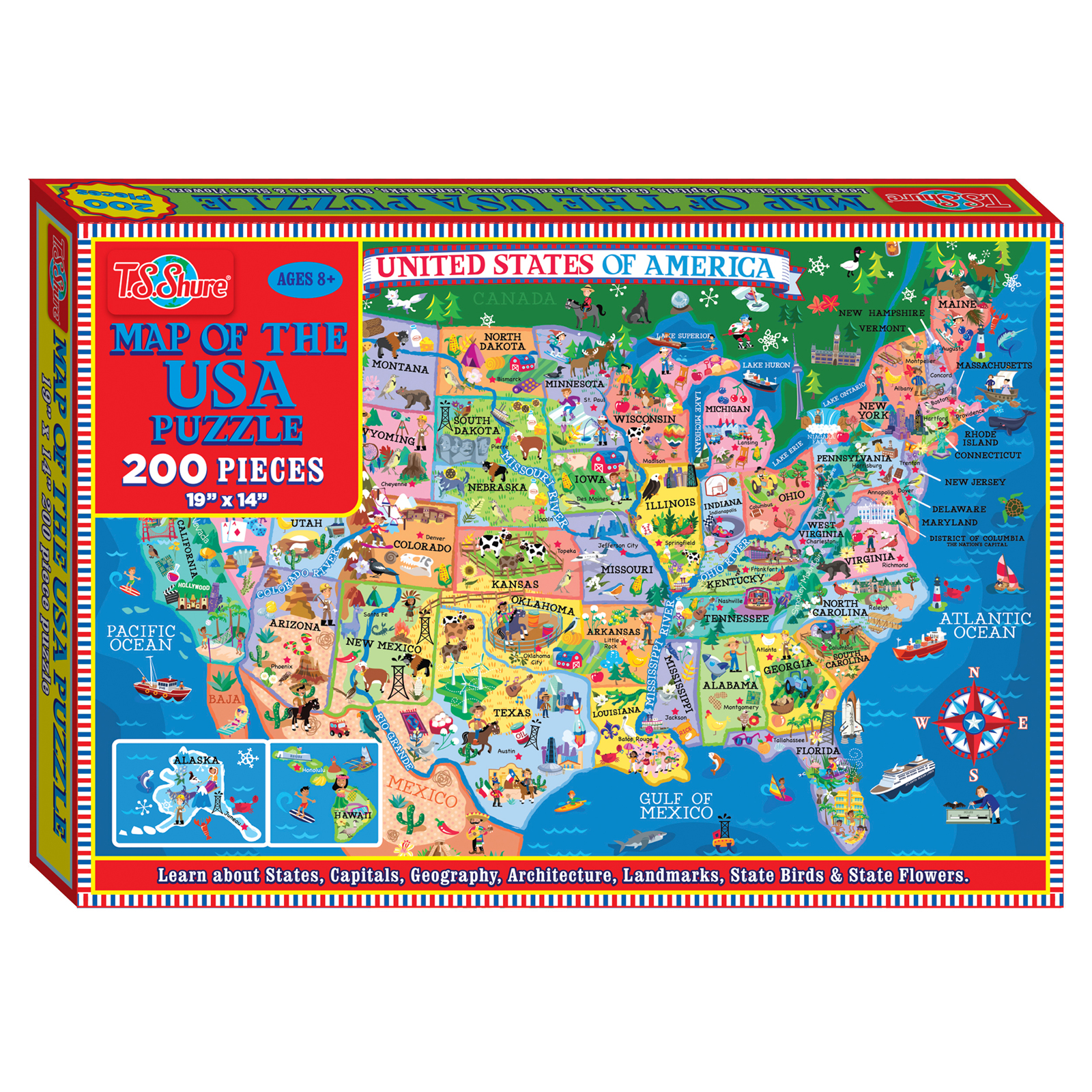 TS Shure Map of the USA 200 Piece Jigsaw Puzzle Jigsaw