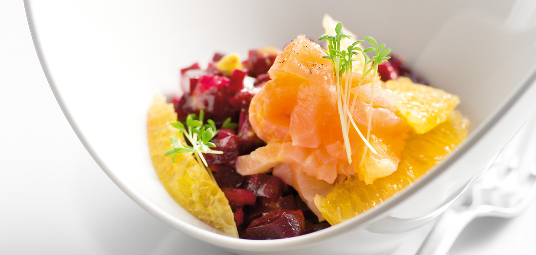 Lachs rote bete salat