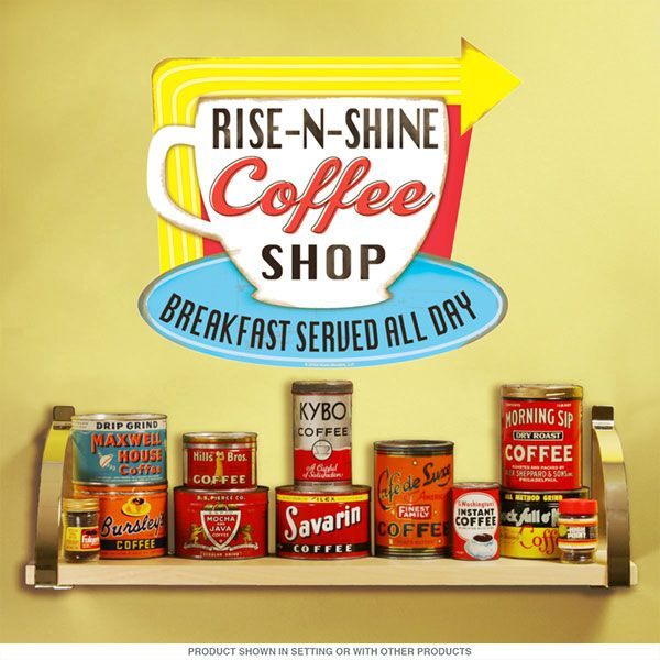 Rise n shine coffee shop wall decal kitchen wall decalskitchen wallsvintage