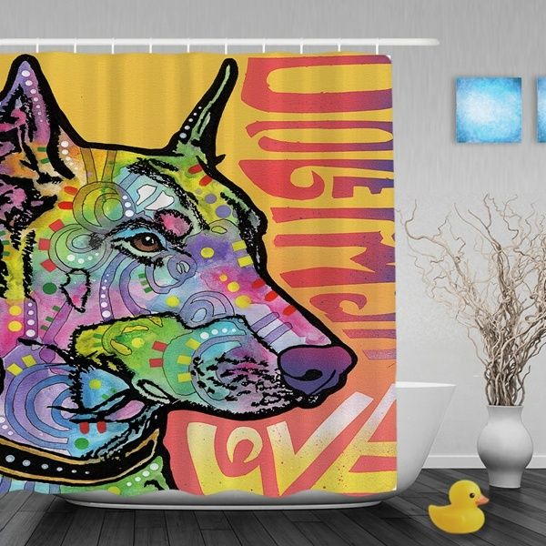 Doberman Luv Shower Curtains Bathroom Home Living Bedroom Curtain With Hooks Durable Waterproof Fabric Pets Petlovers Doglovers Curated Wishlist