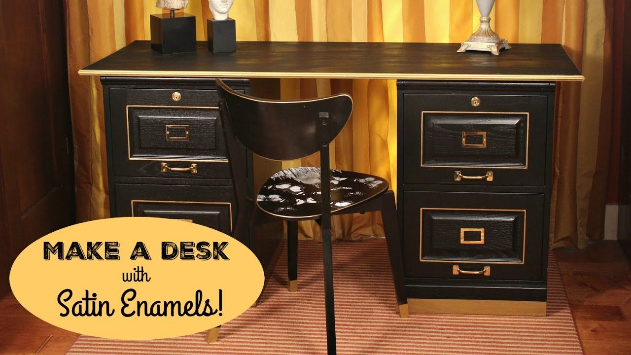 Mark Montano Is Making A Desk From Two Filing Cabinets And A Little Americana Decor Satin Enamels Subscribe To The Decoart Desk Makeover Americana Decor Desk