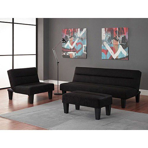 Black 3pc Modern Futon Sofa Living Room Furniture Set Sofasleeper Chair Ottoman You Can Find More Details By Visiting The Image Link