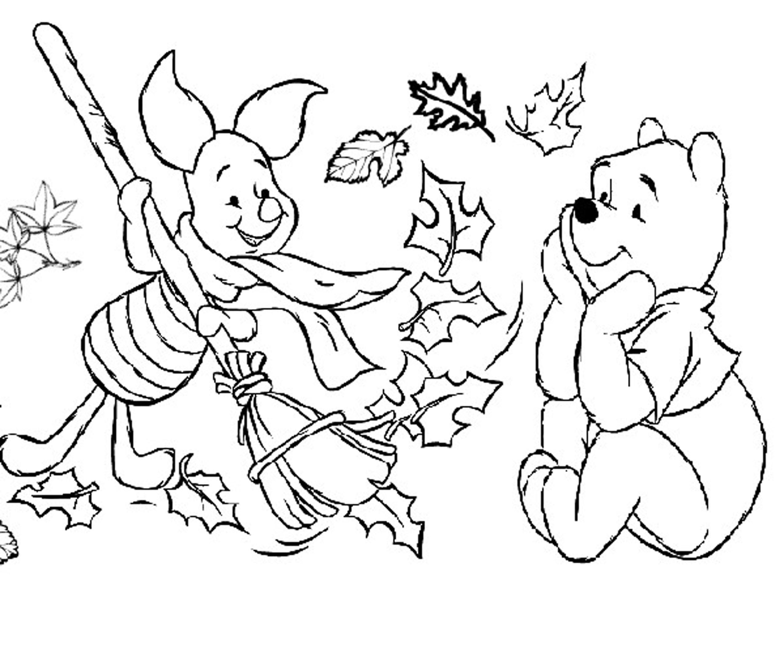 Pooh Piglet Disney Fall Coloring Pages Preschoolers Dinosaur Coloring Pages Fall Coloring Pages Animal Coloring Pages