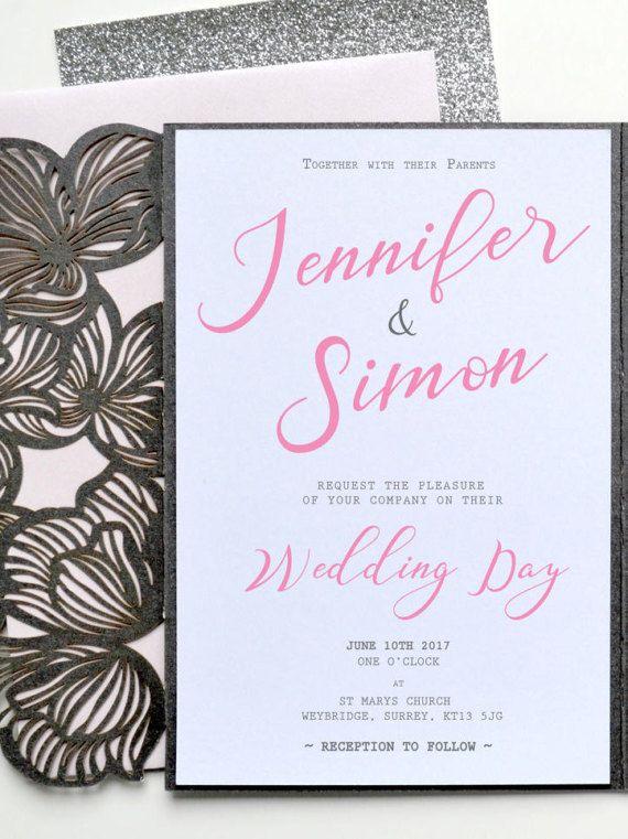 Luxury Invitation Grey Formal Invitation Laser Cut Wedding