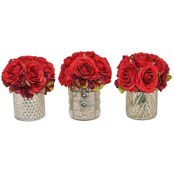 8 Red Rose Arrangements Faux Set Of 3 Found On Polyvore Featuring Home Decor Fillers Backgrounds Deco