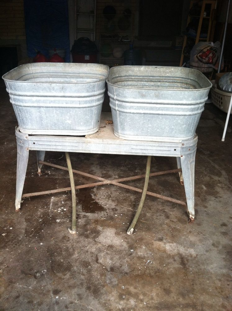 Vtg Galvanized Metal Double Wash Tubs Wheeled Stand Rinse Sink Plant Wedding Ice Naiveprimitive Wash Tubs Metal Wash Tub Galvanized Wash Tub