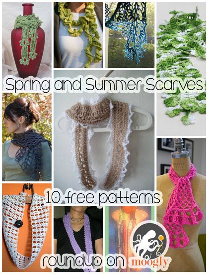 Spring and Summer Scarves to Crochet - free patterns for a year round look!